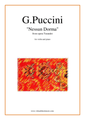 Cover icon of Nessun Dorma, from the opera Turandot sheet music for violin and piano by Giacomo Puccini, classical score, easy skill level