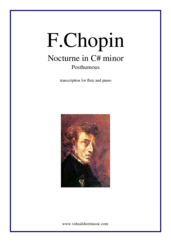 Cover icon of Nocturne in C# minor (Posth.) sheet music for flute and piano by Frederic Chopin, classical score, intermediate/advanced skill level