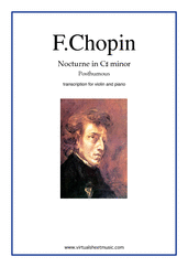Cover icon of Nocturne in C sharp minor (Posth.) sheet music for violin and piano by Frederic Chopin, classical score, intermediate/advanced skill level