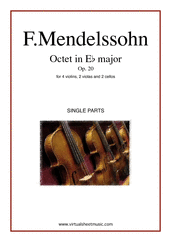 Cover icon of Octet in Eb major Op. 20 (COMPLETE) sheet music for strings by Felix Mendelssohn-Bartholdy, classical score, intermediate/advanced skill level