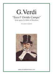 Cover icon of Ecco l' Orrido Campo, from the opera Un Ballo in Maschera sheet music for soprano and piano by Giuseppe Verdi, classical score, advanced skill level