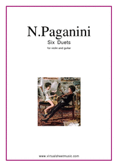 Cover icon of Six Duets sheet music for violin and guitar by Nicolo Paganini, classical score, intermediate duet