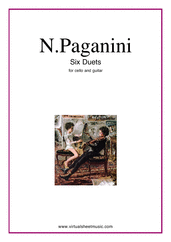 Cover icon of Six Duets sheet music for cello and guitar by Nicolo Paganini, classical score, intermediate duet