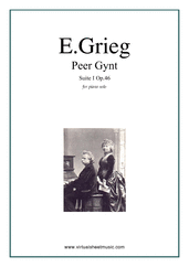 Cover icon of Peer Gynt suite I sheet music for piano solo by Edvard Grieg, classical score, intermediate skill level