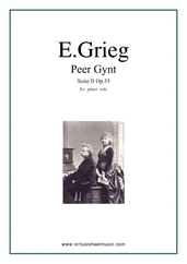 Cover icon of Peer Gynt suite II sheet music for piano solo by Edvard Grieg, classical score, intermediate skill level