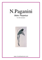 Cover icon of Moto Perpetuo sheet music for violin and piano by Nicolo Paganini, classical score, intermediate skill level