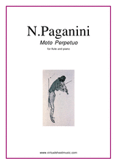 Cover icon of Moto Perpetuo sheet music for flute and piano by Nicolo Paganini, classical score, intermediate skill level