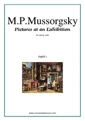 Cover icon of Pictures at an Exhibition, part I sheet music for piano solo by Modest Petrovic Mussorgsky, classical score, intermediate/advanced skill level