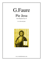Cover icon of Pie Jesu (Blessed Jesu) sheet music for violin and piano by Gabriel Faure, classical wedding score, easy skill level