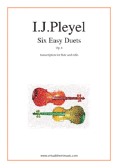 Cover icon of Six Easy Duets Op.8 sheet music for flute and cello by Ignaz Joseph Pleyel, classical score, easy duet