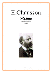 Cover icon of Poeme Op.25 sheet music for violin and piano by Ernest Chausson, classical score, advanced skill level