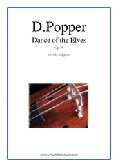 Cover icon of Dance of the Elves Op.39 sheet music for cello and piano by David Popper, classical score, advanced skill level
