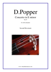 Cover icon of Concerto in E minor Op.24, 2nd movement sheet music for cello and piano by David Popper, classical score, advanced skill level
