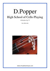 Cover icon of High School of Cello Playing, 40 Studies Op.73 sheet music for cello solo by David Popper, classical score, advanced skill level