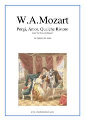 "Cover icon of Porgi, amor, qualche ristoro, from the opera ""Le Nozze di Figaro"" sheet music for soprano and piano by Wolfgang Amadeus Mozart, classical score, easy/intermediate skill level"