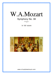 "Cover icon of Symphony No.38, ""Prague"" sheet music for orchestra by Wolfgang Amadeus Mozart, classical score, intermediate skill level"