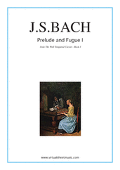Cover icon of Prelude and Fugue I - Book I sheet music for piano solo (or harpsichord) by Johann Sebastian Bach, classical score, intermediate piano (or harpsichord)