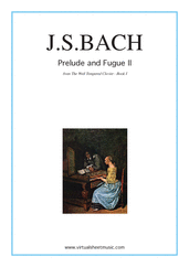 Cover icon of Prelude and Fugue II - Book I sheet music for piano solo (or harpsichord) by Johann Sebastian Bach, classical score, intermediate piano (or harpsichord)