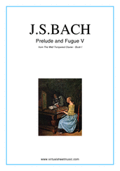 Cover icon of Prelude and Fugue V - Book I sheet music for piano solo (or harpsichord) by Johann Sebastian Bach, classical score, easy/intermediate piano (or harpsichord)