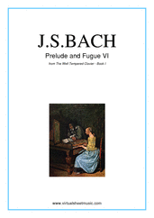 Cover icon of Prelude and Fugue VI - Book I sheet music for piano solo (or harpsichord) by Johann Sebastian Bach, classical score, intermediate piano (or harpsichord)