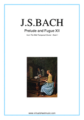 Cover icon of Prelude and Fugue XII - Book I sheet music for piano solo (or harpsichord) by Johann Sebastian Bach, classical score, intermediate piano (or harpsichord)