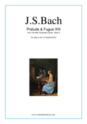 Cover icon of Prelude and Fugue XIII - Book II sheet music for piano solo (or harpsichord) by Johann Sebastian Bach, classical score, intermediate piano (or harpsichord)