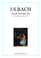 Cover icon of Prelude and Fugue XIV - Book I sheet music for piano solo (or harpsichord) by Johann Sebastian Bach, classical score, easy/intermediate piano (or harpsichord)