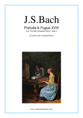 Cover icon of Prelude and Fugue XVIII - Book II sheet music for piano solo (or harpsichord) by Johann Sebastian Bach, classical score, easy/intermediate piano (or harpsichord)