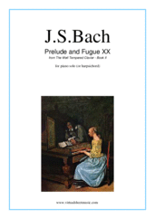 Cover icon of Prelude and Fugue XX - Book II sheet music for piano solo (or harpsichord) by Johann Sebastian Bach, classical score, easy/intermediate piano (or harpsichord)