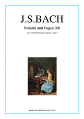 Cover icon of Prelude and Fugue XXI - Book I sheet music for piano solo (or harpsichord) by Johann Sebastian Bach, classical score, easy/intermediate piano (or harpsichord)