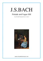 Cover icon of Prelude and Fugue XXII - Book I sheet music for piano solo (or harpsichord) by Johann Sebastian Bach, classical score, easy/intermediate piano (or harpsichord)