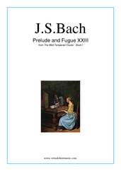 Cover icon of Prelude and Fugue XXIII - Book I sheet music for piano solo (or harpsichord) by Johann Sebastian Bach, classical score, intermediate piano (or harpsichord)