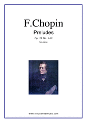 Cover icon of Preludes Op.28 No.1-12 sheet music for piano solo by Frederic Chopin, classical score, intermediate/advanced skill level