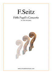 Cover icon of Fifth Pupil's Concerto in D major Op.22 sheet music for violin and piano by Friedrich Seitz, classical score, intermediate/advanced skill level
