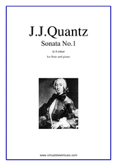 Cover icon of Sonata No.1 in A minor sheet music for flute and piano by Johann Joachim Quantz, classical score, intermediate skill level