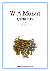 Cover icon of Quintet in Eb K407 (parts) sheet music for brass quintet by Wolfgang Amadeus Mozart, classical score, intermediate/advanced skill level