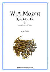 Cover icon of Quintet in Eb K407 (f.score) sheet music for brass quintet by Wolfgang Amadeus Mozart, classical score, intermediate/advanced skill level