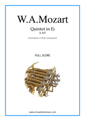 Cover icon of Quintet in Eb K407 (f.score) sheet music for wind quintet by Wolfgang Amadeus Mozart, classical score, intermediate/advanced skill level