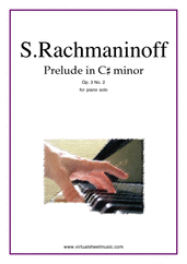 Cover icon of Prelude in C# minor Op.3 No.2 sheet music for piano solo by Serjeij Rachmaninoff, classical score, advanced skill level