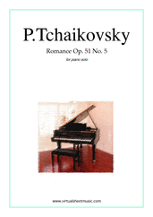 Cover icon of Romance Op.51 No.5 sheet music for piano solo by Pyotr Ilyich Tchaikovsky, classical score, intermediate/advanced skill level