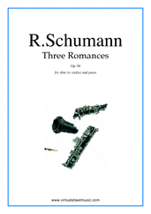 Cover icon of Three Romances Op.94 sheet music for oboe (or violin) and piano by Robert Schumann, classical score, intermediate skill level