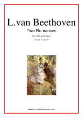 Cover icon of Two Romances Op.40-50 sheet music for violin and piano by Ludwig van Beethoven, classical score, advanced skill level