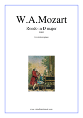 Cover icon of Rondo in D major K485 sheet music for violin and piano by Wolfgang Amadeus Mozart, classical score, intermediate skill level