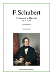 Cover icon of Rosamunde Quartet Op. 29 No. 13  (f.score) sheet music for string quartet by Franz Schubert, classical score, advanced skill level