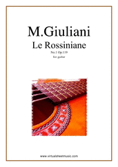 Cover icon of Le Rossiniane No.1, Op.119 sheet music for guitar solo by Mauro Giuliani, classical score, intermediate/advanced skill level
