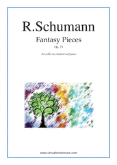 Cover icon of Fantasy Pieces Op.73 sheet music for cello (or clarinet) and piano by Robert Schumann, classical score, intermediate skill level