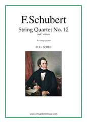 Cover icon of Quartet No. 12 in C minor (f.score) sheet music for string quartet by Franz Schubert, classical score, advanced skill level