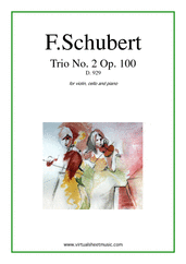 Cover icon of Trio No.2 Op.100 sheet music for violin, cello and piano by Franz Schubert, classical score, advanced skill level