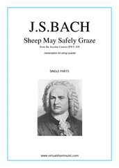 Cover icon of Sheep May Safely Graze (parts) sheet music for string quartet by Johann Sebastian Bach, classical wedding score, intermediate skill level