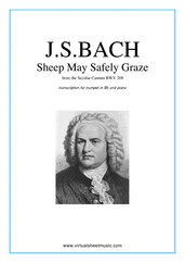 Cover icon of Sheep May Safely Graze sheet music for trumpet and piano by Johann Sebastian Bach, classical wedding score, intermediate skill level